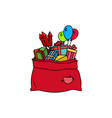 Colorful Bag of Santa Claus Isolated on White vector image
