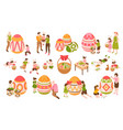 easter isometric color icons set vector image