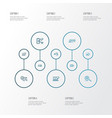engine icons line style set with sort keywords vector image