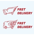 Fast delivery icons truck van with wing vector image vector image