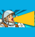 female astronaut is calling for a sale vector image vector image