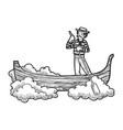 flying gondola boat sketch engraving vector image vector image