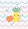 fresh pineapple and apple fruits kawaii characters vector image vector image