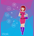girl looking at mobile phone apps vector image vector image