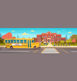 group of pupils mix race walking to school vector image vector image