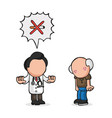 hand-drawn cartoon of doctor telling old patient vector image vector image