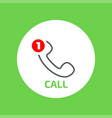 handset flat icon with missed call counter vector image vector image