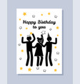 happy birthday you greeting poster dancing people vector image