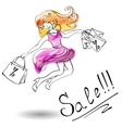 Joyful girl in a dress jumps shopping vector image