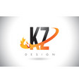 kz k z letter logo with fire flames design and vector image vector image