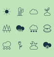 landscape icons set collection of rain plant vector image vector image