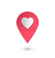 location icon with heart pink 3d pointer vector image vector image