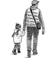 man with his kid on a walk vector image vector image