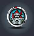 medieval cartoon castle steely rounded badge icon vector image