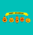 monster pumpkins with halloween banner vector image