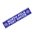 north pole post office scratched rectangle stamp vector image vector image