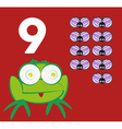 Number 9 - Frog with nine small insects vector image