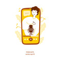 podcasters video on smartphone screen flat yellow vector image
