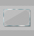 realistic glass banner clear glass frame vector image vector image