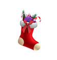 red christmas stockings with presents inside vector image
