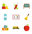 school icons set flat style vector image