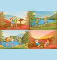 set 2d outdoor activities concept for web design vector image