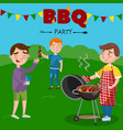 smiling man preparing barbecue outdoors for his vector image vector image