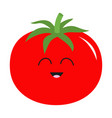 tomato with leaves icon red color vegetable vector image