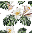 tropical monstera leaves and white lilies flowers vector image vector image