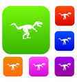 tyrannosaur dinosaur set color collection vector image vector image