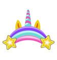 unicorn horn with ears rainbow and stars vector image