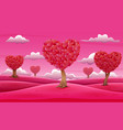 valentine trees landscape with heart shaped leaves vector image