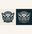 vintage monochrome tattoo studio round badge vector image vector image