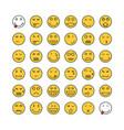 yellow thin line emoji set vector image vector image