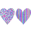 Two hearts made of colored pencil and isolated on vector image