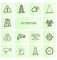 14 attention icons vector image vector image