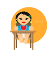 A small child sitting on the highchair flet style vector image