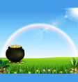beautiful rainbow with a pot of coins on the field vector image