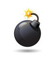 black round bomb with burning fuse icon isolated vector image
