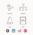 book hierarchy and direction arrows icons vector image vector image