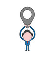 businessman character holding up map pointer vector image vector image