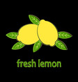 card with two lemons isolated on black background vector image vector image