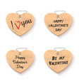 cardboard hearts for valentines day icons vector image vector image