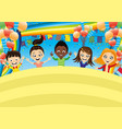 cheerful children on festive background vector image vector image
