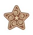 christmas star shape gingerbread flat design icon vector image vector image