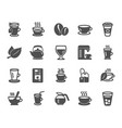 coffee and tea icons teapot coffeepot vector image vector image