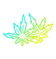 cold gradient line drawing cartoon marijuana vector image vector image