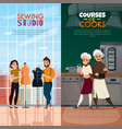 cooks tailors banners set vector image