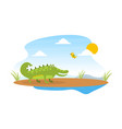 cute friendly crocodile and lovely bird on african vector image vector image