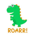 cute happy smiling funny dinosaur vector image vector image